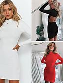 olcso Női ruhák-Női Alap Little Black Ruha Egyszínű Térd feletti Állógallér