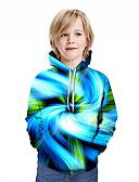 Χαμηλού Κόστους Αντρικές Μπλούζες με Κουκούλα & Φούτερ-Παιδιά Αγορίστικα Ενεργό Κομψό στυλ street Γεωμετρικό 3D Patchwork Στάμπα Μακρυμάνικο Μπλούζα με Κουκούλα & Φούτερ Θαλασσί
