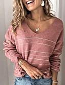 povoljno Ženski džemperi-Žene Prugasti uzorak Dugih rukava Pullover Džemper od džempera, V izrez Obala / Blushing Pink S / M / L