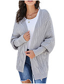 cheap Women's Blouses-Women's Solid Colored Long Sleeve Cardigan, Shawl Blushing Pink / Green / Gray S / M / L