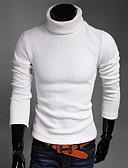 olcso Férfi pólók és kardigánok-Férfi Egyszínű Hosszú ujj Vékony Pulóver Pulóver jumper, Körgallér Ősz / Tél Fekete / Fehér / Medence US34 / UK34 / EU42 / US36 / UK36 / EU44 / US38 / UK38 / EU46