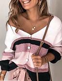 olcso Női felsők-Női Színes Hosszú ujj Kardigán Pulóver jumper, V-alakú Bíbor / Arcpír rózsaszín / Medence S / M / L