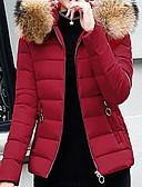 olcso Női hosszú kabátok és parkák-Női Egyszínű Kosaras, Poliészter Fekete / Bor / Világoskék M / L / XL