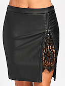 olcso Női szoknyák-Női Bodycon Alap Szoknyák - Egyszínű Fekete Bor M L XL