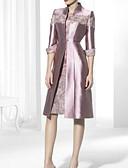 olcso Maxi ruhák-Szűk szabású Magasnyakú Térdig érő Szatén Örömanya ruha val vel Csipke által LAN TING Express