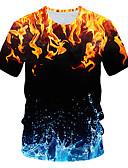 billige T-skjorter og singleter til herrer-T-skjorte Herre - Fargeblokk / 3D / Grafisk, Trykt mønster Gatemote / Punk & Gotisk Regnbue