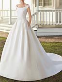 billiga Brudklänningar-A-linje Off shoulder Hovsläp Satäng Remmar Romantisk Liten vit klänning Bröllopsklänningar tillverkade med 2020