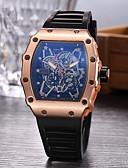 ราคาถูก นาฬิกากีฬา-สำหรับผู้ชาย นาฬิกาแนวสปอร์ต นาฬิกาเห็นกลไกจักรกล นาฬิกาข้อมือ นาฬิกาอิเล็กทรอนิกส์ (Quartz) ยาง ดำ นาฬิกาใส่ลำลอง ระบบอนาล็อก เสน่ห์ - สีดำ สีเงิน Rose Gold