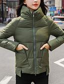 olcso Női hosszú kabátok és parkák-Női Egyszínű Rövid Kosaras, Poliészter Fekete / Ezüst / Katonai zöld S / M / L