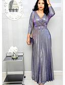 olcso Női ruhák-Női Elegáns Hüvely Ruha Egyszínű Maxi Mély-V