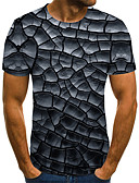 baratos Camisetas & Regatas Masculinas-Homens Tamanhos Grandes Camiseta Moda de Rua / Exagerado Pregueado / Estampado, 3D / Gráfico / Letra Decote Redondo Cinzento Escuro / Manga Curta