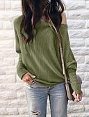 olcso Női pulóverek-Női Egyszínű Hosszú ujj Pulóver Pulóver jumper, Kerek Fekete / Bor / Katonai zöld S / M / L