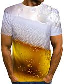 ราคาถูก เสื้อยืดและเสื้อกล้ามผู้ชาย-สำหรับผู้ชาย เสื้อเชิร์ต พื้นฐาน ลายพิมพ์ 3D สีทอง