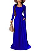 baratos Vestidos de Festa-Mulheres Moda de Rua Elegante Evasê Bainha balanço Vestido Sólido Longo