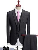 ราคาถูก เบลเซอร์ &สูทผู้ชาย-สำหรับผู้ชาย ชุด, สีพื้น ปกคอแบะของเสื้อแบบน็อตช์ เส้นใยสังเคราะห์ เทาเข้ม / สีกากี