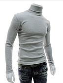 olcso Férfi pólók és kardigánok-Férfi Egyszínű Hosszú ujj Vékony Kardigán Pulóver jumper, Körgallér Ősz / Tél Fekete / Világos szürke / Fehér US32 / UK32 / EU40 / US36 / UK36 / EU44