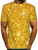 baratos Camisetas & Regatas Masculinas-Homens Camiseta Moda de Rua / Exagerado Pregueado / Estampado, 3D / Gráfico / Letra Dourado
