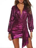 olcso Női ruhák-Női Hüvely Ruha Egyszínű Mini Mély-V