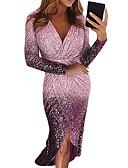 Χαμηλού Κόστους Γυναικεία Φορέματα-Γυναικεία Εξόδου Σέξι Κομψό Εφαρμοστό Θήκη Φόρεμα - Διαβάθμιση χρώματος Συνδυασμός Χρωμάτων, Πούλιες Ασυμμετρικό Ασύμμετρο Βαθύ V