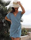 billige Uformelle kjoler-Dame Elegant Chiffon Kjole - Ensfarget, Lapper V-hals Ovenfor knéet