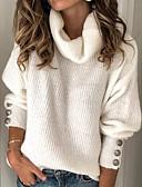 olcso Női pulóverek-Női Egyszínű Hosszú ujj Pulóver Pulóver jumper, Körgallér Fehér / Medence / Rubin S / M / L