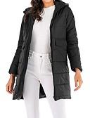 olcso Női hosszú kabátok és parkák-Női Egyszínű Anorák, Poliészter / POLY Fekete / Katonai zöld / Teveszín M / L / XL