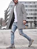 Χαμηλού Κόστους Ανδρικά μπουφάν και παλτό-Ανδρικά Καθημερινά Μέγεθος EU / US Κανονικό Παλτό, Μονόχρωμο Κλασικό Πέτο Μακρυμάνικο Πολυεστέρας Μαύρο / Μπλε / Γκρίζο / Λεπτό