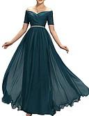 Χαμηλού Κόστους Βραδινά Φορέματα-Γραμμή Α Ώμοι Έξω Μακρύ Πολυεστέρας Κομψό Χοροεσπερίδα / Επίσημο Βραδινό Φόρεμα 2020 με Ζώνη / Κορδέλα / Πλισέ