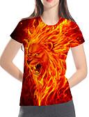 billige T-skjorter til damer-Løstsittende Store størrelser T-skjorte Dame - 3D / Dyr / Tegneserie, Trykt mønster Grunnleggende / overdrevet Klubb Løve Rød
