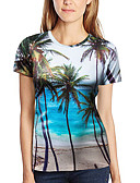 cheap Men's Tees & Tank Tops-Women's Daily Club Basic / Exaggerated T-shirt - 3D / Graphic / Fruit Print Light Blue