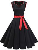 Χαμηλού Κόστους Print Dresses-Γυναικεία Βίντατζ Βασικό Swing Φόρεμα - Μονόχρωμο Μίντι