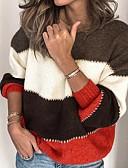 baratos Suéteres de Mulher-Mulheres Listrado Manga Longa Solto Pulôver Camisola Jumper, Decote Redondo Preto / Roxo / Laranja S / M / L