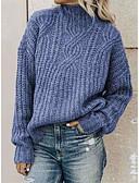 billige Gensere til damer-Dame Ensfarget Langermet Løstsittende Pullover Genserjumper Svart / Blå / Rød S / M / L
