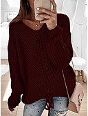 cheap Women's Blouses-Women's Solid Colored Long Sleeve Pullover Sweater Jumper, V Neck Wine / Blushing Pink / Navy Blue S / M / L