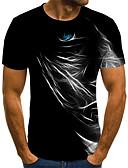 billige T-skjorter og singleter til herrer-Tynn Rund hals EU / USA størrelse T-skjorte Herre - 3D Svart / Kortermet