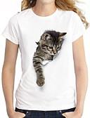 baratos Camisetas Femininas-Mulheres Camiseta Desenho Animado Branco
