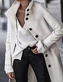 baratos Trench Coats e Casacos Femininos-Mulheres Diário Outono & inverno Longo Casaco, Sólido Colarinho Chinês Manga Longa Poliéster Branco