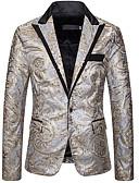 ราคาถูก เบลเซอร์ &สูทผู้ชาย-สำหรับผู้ชาย เสื้อคลุมสุภาพ, รูปเรขาคณิต ปกคอแบะของเสื้อแบบน็อตช์ เส้นใยสังเคราะห์ สีทอง / สีเงิน