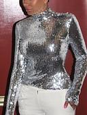 billige Todelt dress til damer-T-skjorte Dame - Ensfarget, Paljetter Grunnleggende Sølv