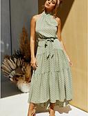 olcso Print Dresses-Női Swing Ruha Pöttyös Maxi