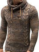 billige Gensere til damer-Herre Ensfarget Langermet Pullover Genserjumper, Med hette Svart / Kamel US36 / UK36 / EU44 / US38 / UK38 / EU46 / US40 / UK40 / EU48