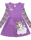 Χαμηλού Κόστους Φορέματα για κορίτσια-Παιδιά Κοριτσίστικα Κινούμενα σχέδια Φόρεμα Βυσσινί / Βαμβάκι