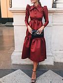 baratos Vestidos para as Mães dos Noivos-Linha A Gola Alta Longuette Poliéster Elegante Coquetel / Feriado Vestido 2020 com