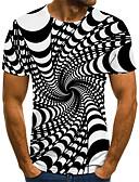 billiga T-shirts och brottarlinnen till herrar-Plisserad / Tryck, 3D / Grafisk / Bokstav T-shirt - Streetchic / drivna Herr Svart