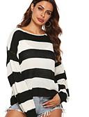 billige Gensere til damer-Dame Stripet Langermet Pullover Genserjumper Svart S / M / L
