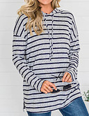 billige Skjorter til damer-Dame Fritid Hattetrøje Stripet