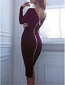 Χαμηλού Κόστους Φορέματα NYE-Γυναικεία Κομψό Θήκη Φόρεμα - Μονόχρωμο Ως το Γόνατο