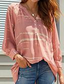 baratos Camisetas Femininas-Mulheres Camiseta Listrado Decote V Rosa