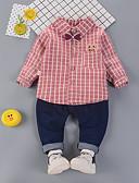 billige Sett med Gutter babyklær-Baby Gutt Grunnleggende Trykt mønster / Hundetannmønster Langermet Normal Normal Tøysett Blå