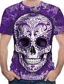 baratos Camisetas Femininas-Homens Camiseta Moda de Rua / Exagerado Estampado, Estampa Colorida / 3D / Gráfico Roxo